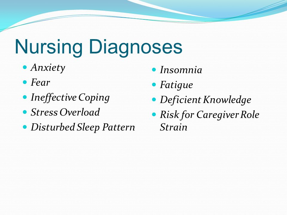 Nursing Diagnoses Anxiety Fear Ineffective Coping Stress Overload Disturbed Sleep Pattern Insomnia Fatigue Deficient Knowledge Risk for Caregiver Role Strain