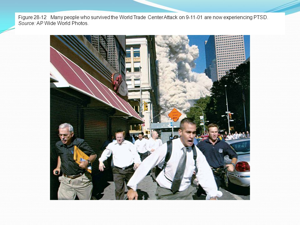 Figure 28-12 Many people who survived the World Trade Center Attack on 9-11-01 are now experiencing PTSD. Source: AP Wide World Photos.