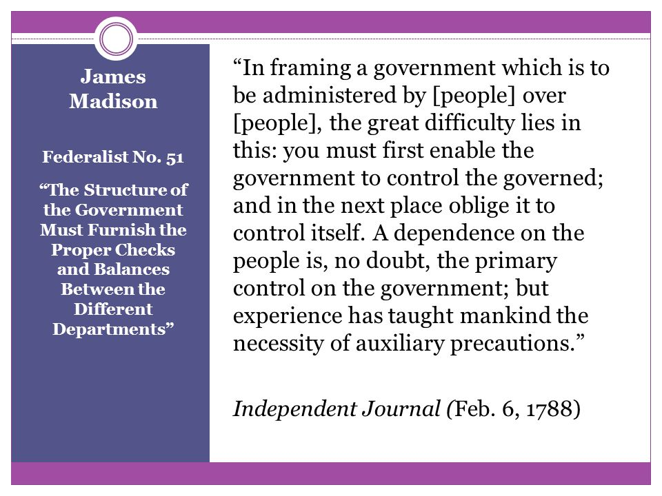 James Madison Federalist No.