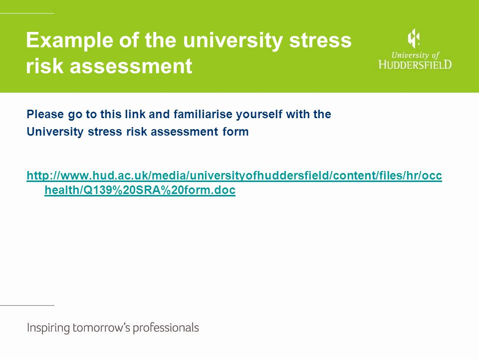 Example of the university stress risk assessment Please go to this link and familiarise yourself with the University stress risk assessment form http: