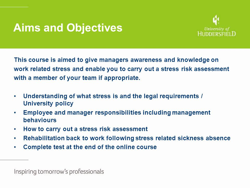 Stress risk assessment continued Stress risk factors – items to consider Problems identified (by employee and manager) Practical solutions By whomWhenRevised action plan Action completed Control over work Organisation Pace Decision making Employee feels that they have no control over work and never takes a lunch break due to having to cover the office Employee and manager to ensure that lunch break rota is worked out fairly to ensure that all members of the team feel that they can have a lunch break Manager with input from the team Straight awayOne month – Individual has been able to prioritise workload to ensure that they get a break