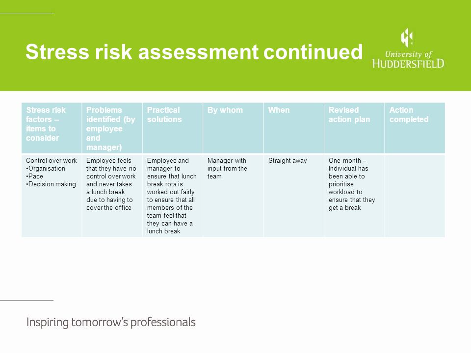 Stress risk assessment continued Stress risk factors – items to consider Problems identified (by employee and manager) Practical solutions By whomWhen
