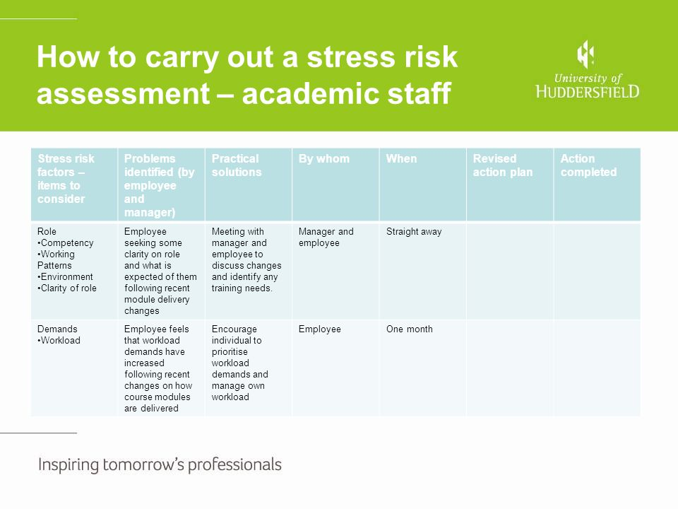 How to carry out a stress risk assessment – academic staff Stress risk factors – items to consider Problems identified (by employee and manager) Pract
