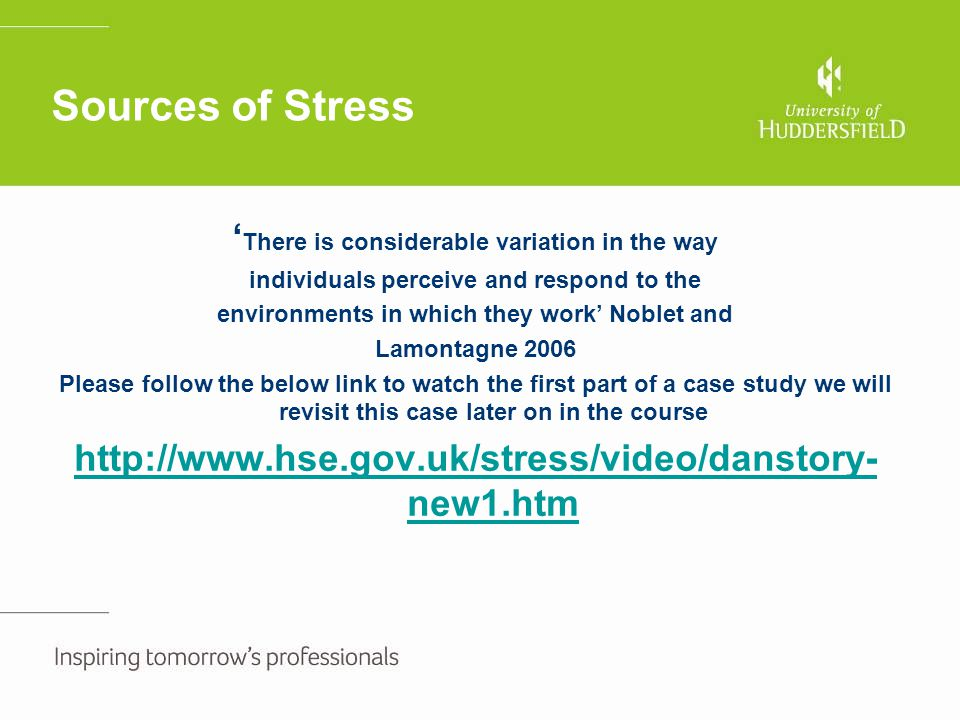 Stress risk assessment continued It is important to revisit you risk assessment at planned intervals to ensure that any actions have been beneficial for the individual and look at any further support measures that can be put in place
