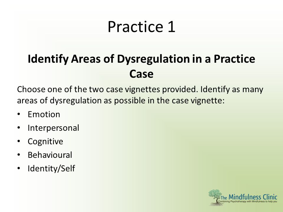 Practice 1 Identify Areas of Dysregulation in a Practice Case Choose one of the two case vignettes provided. Identify as many areas of dysregulation a