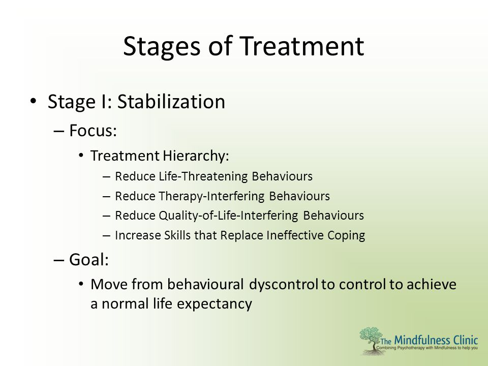 Stages of Treatment Stage I: Stabilization – Focus: Treatment Hierarchy: – Reduce Life-Threatening Behaviours – Reduce Therapy-Interfering Behaviours