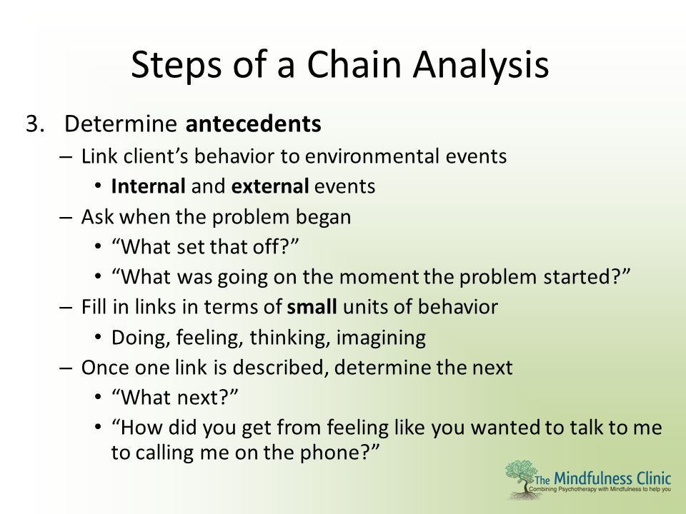 Steps of a Chain Analysis 3.Determine antecedents – Link client's behavior to environmental events Internal and external events – Ask when the problem