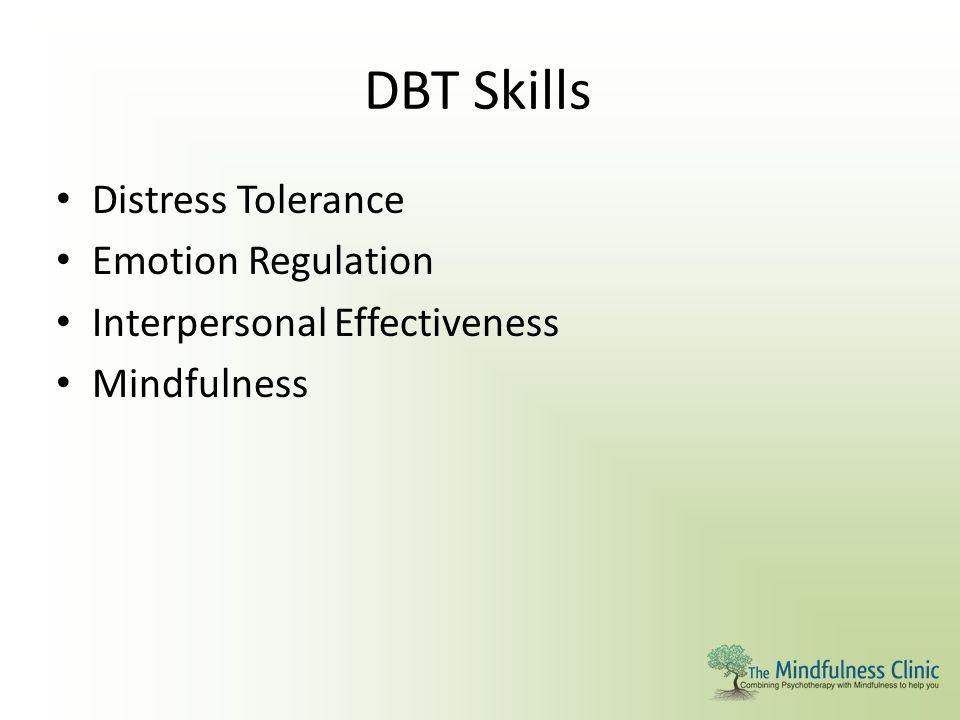 DBT Skills Distress Tolerance Emotion Regulation Interpersonal Effectiveness Mindfulness