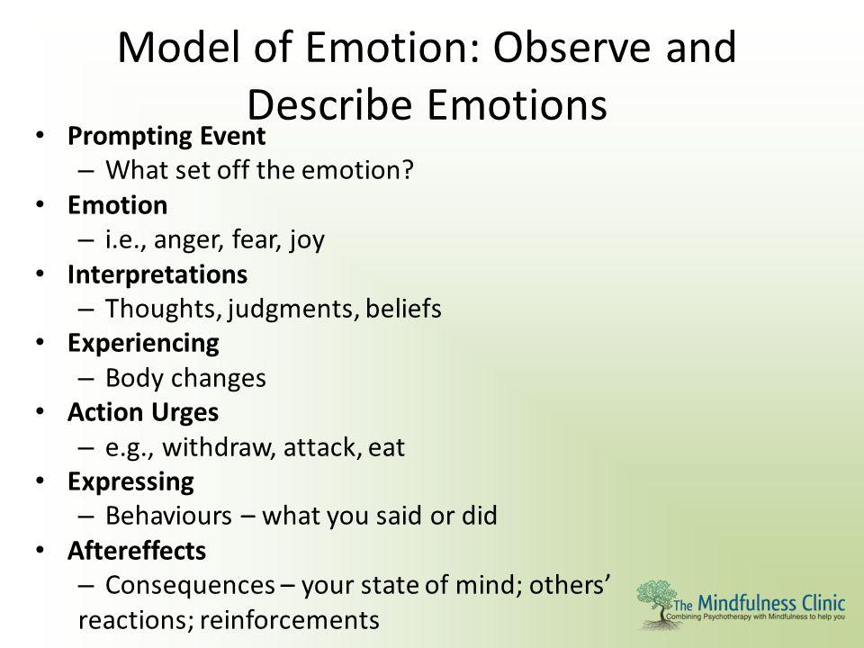 Model of Emotion: Observe and Describe Emotions Prompting Event – What set off the emotion? Emotion – i.e., anger, fear, joy Interpretations – Thought