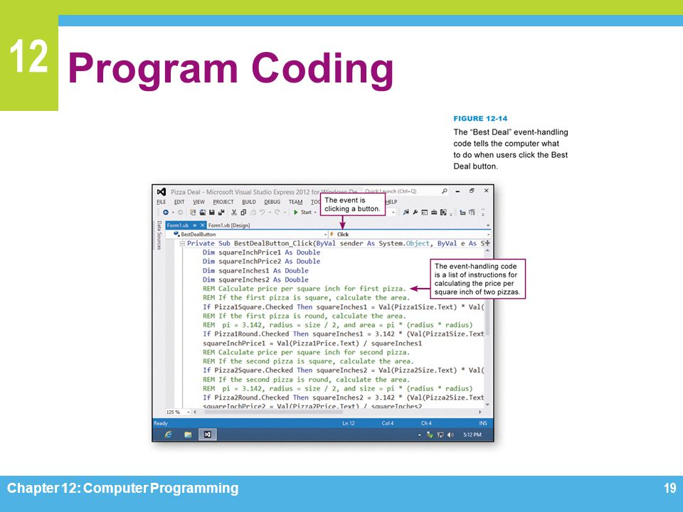 12 Program Coding Chapter 12: Computer Programming19