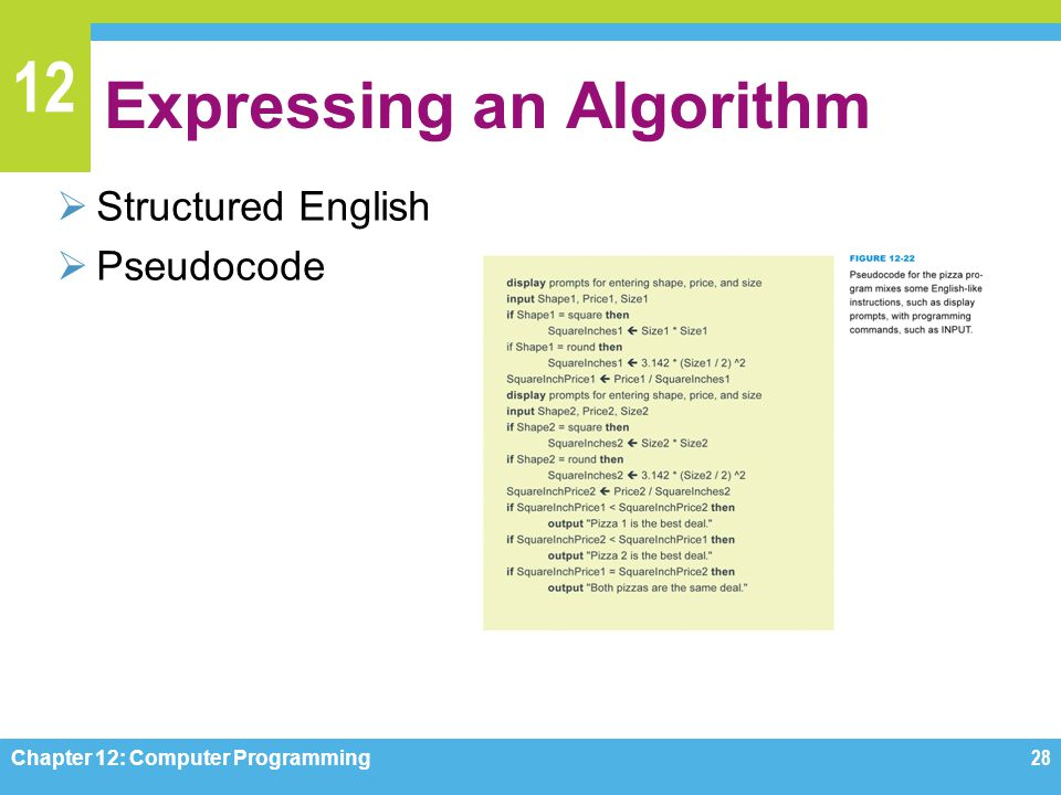 12 Expressing an Algorithm  Structured English  Pseudocode Chapter 12: Computer Programming28