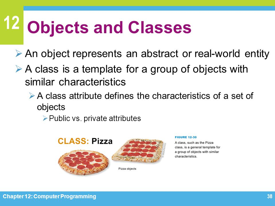 12 Objects and Classes  An object represents an abstract or real-world entity  A class is a template for a group of objects with similar characteris