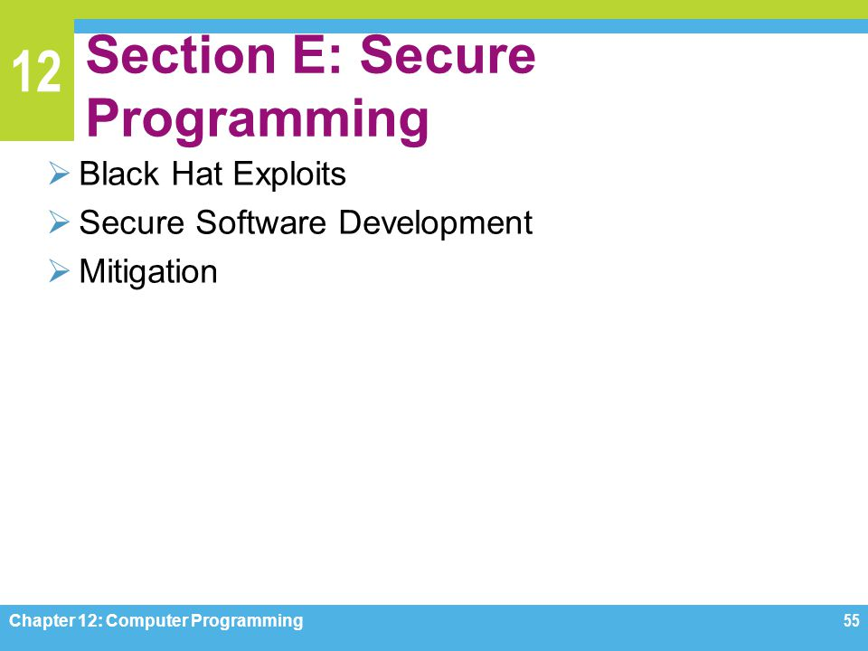 12 Section E: Secure Programming  Black Hat Exploits  Secure Software Development  Mitigation Chapter 12: Computer Programming55