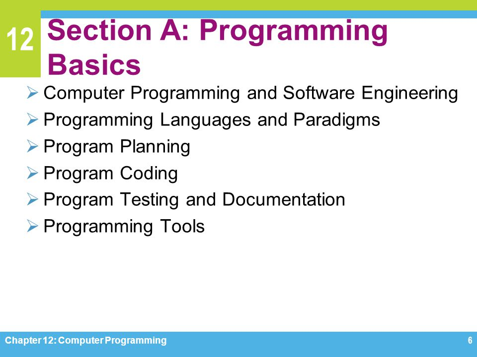 12 Section A: Programming Basics  Computer Programming and Software Engineering  Programming Languages and Paradigms  Program Planning  Program Co