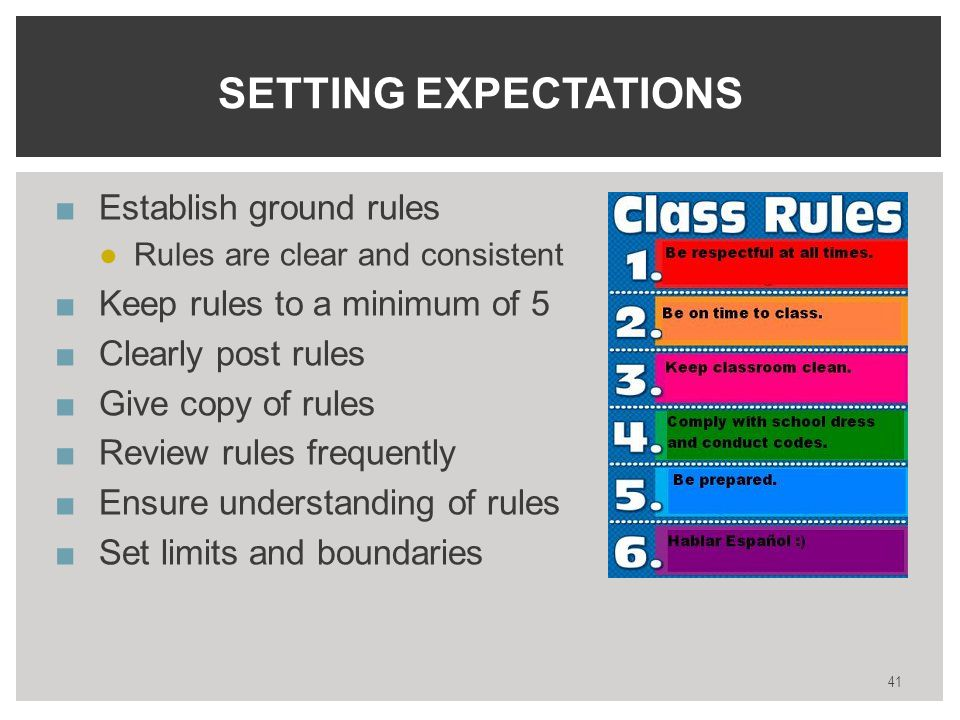 ■Establish ground rules ●Rules are clear and consistent ■Keep rules to a minimum of 5 ■Clearly post rules ■Give copy of rules ■Review rules frequently ■Ensure understanding of rules ■Set limits and boundaries 41 SETTING EXPECTATIONS