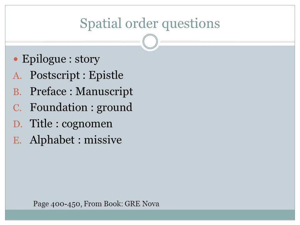 Spatial order questions Epilogue : story A. Postscript : Epistle B. Preface : Manuscript C. Foundation : ground D. Title : cognomen E. Alphabet : miss