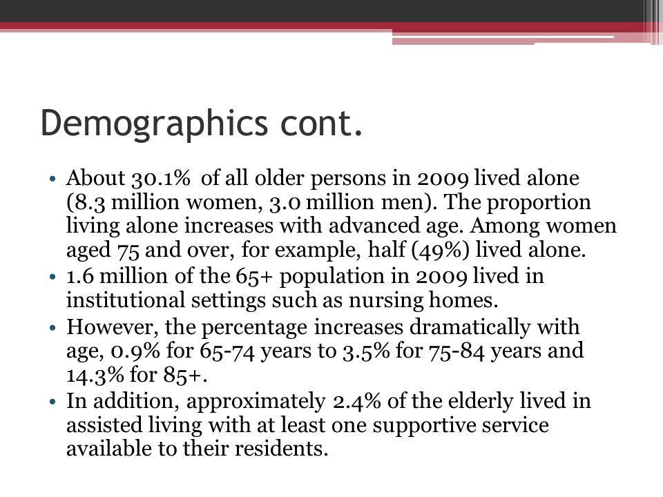 Demographics cont. About 30.1% of all older persons in 2009 lived alone (8.3 million women, 3.0 million men). The proportion living alone increases wi