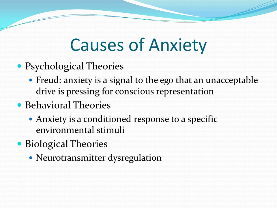 Causes of Anxiety Psychological Theories Freud: anxiety is a signal to the ego that an unacceptable drive is pressing for conscious representation Beh