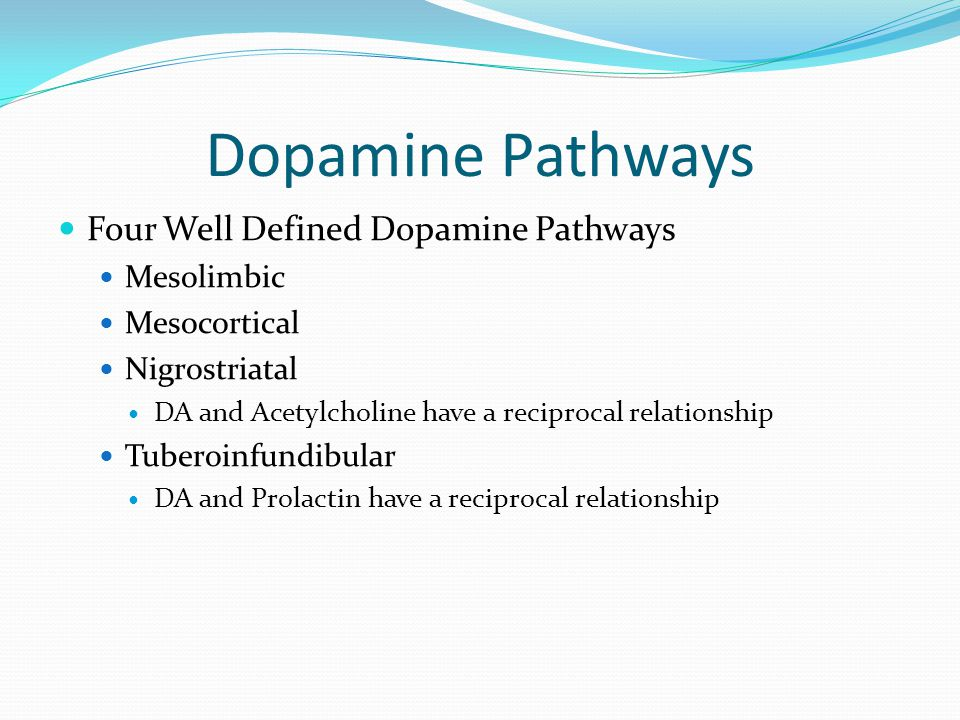 Dopamine Pathways Four Well Defined Dopamine Pathways Mesolimbic Mesocortical Nigrostriatal DA and Acetylcholine have a reciprocal relationship Tubero