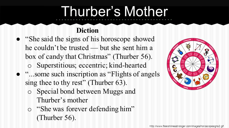 Diction ● She said the signs of his horoscope showed he couldn't be trusted — but she sent him a box of candy that Christmas (Thurber 56).