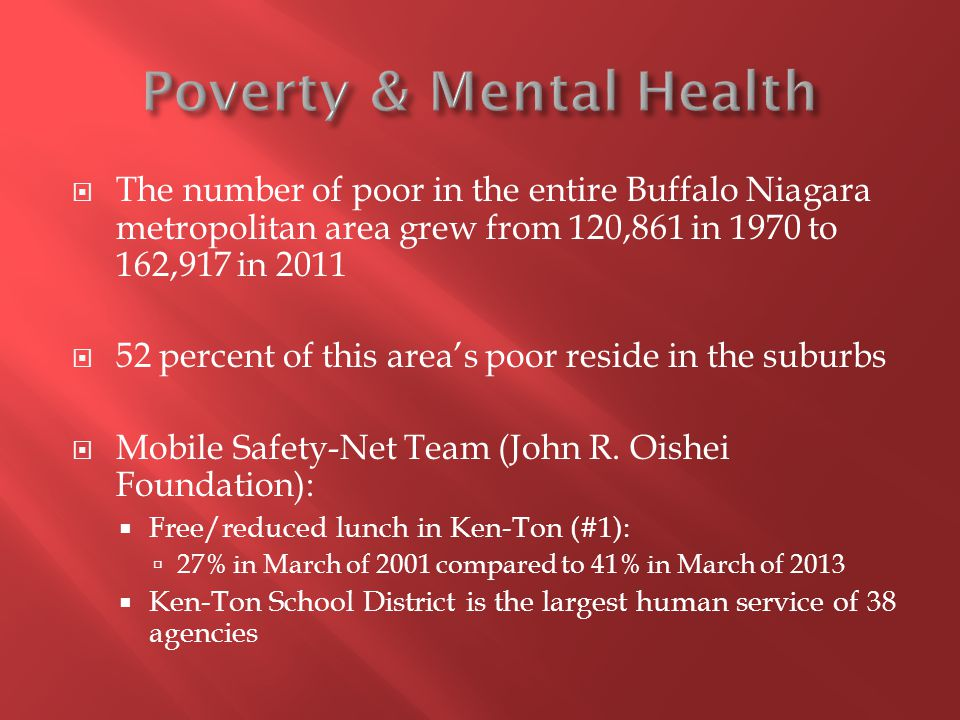  The number of poor in the entire Buffalo Niagara metropolitan area grew from 120,861 in 1970 to 162,917 in 2011  52 percent of this area's poor res