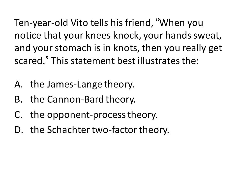"""Ten-year-old Vito tells his friend, """" When you notice that your knees knock, your hands sweat, and your stomach is in knots, then you really get scare"""