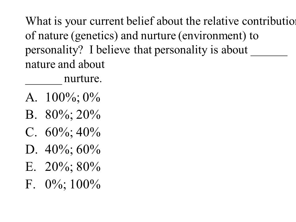 What is your current belief about the relative contributions of nature (genetics) and nurture (environment) to personality? I believe that personality