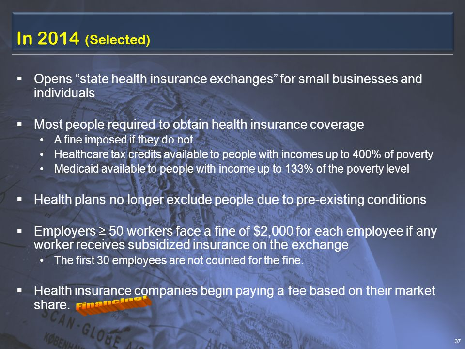 In 2014 (Selected)  Opens state health insurance exchanges for small businesses and individuals  Most people required to obtain health insurance coverage A fine imposed if they do not Healthcare tax credits available to people with incomes up to 400% of poverty Medicaid available to people with income up to 133% of the poverty level  Health plans no longer exclude people due to pre-existing conditions  Employers ≥ 50 workers face a fine of $2,000 for each employee if any worker receives subsidized insurance on the exchange The first 30 employees are not counted for the fine.