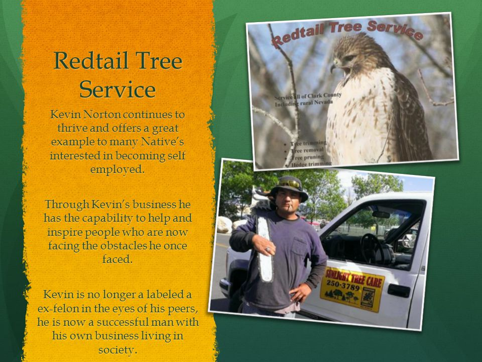 Redtail Tree Service Kevin Norton continues to thrive and offers a great example to many Native's interested in becoming self employed.