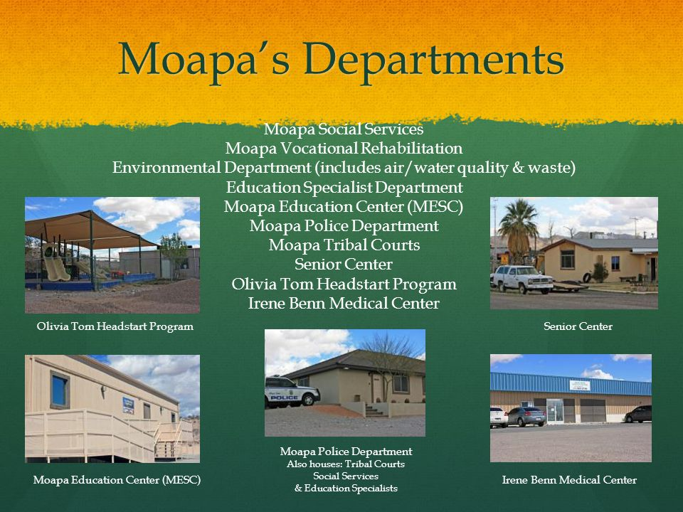 Moapa's Departments Moapa Social Services Moapa Vocational Rehabilitation Environmental Department (includes air/water quality & waste) Education Specialist Department Moapa Education Center (MESC) Moapa Police Department Moapa Tribal Courts Senior Center Olivia Tom Headstart Program Irene Benn Medical Center Olivia Tom Headstart Program Moapa Education Center (MESC) Senior Center Irene Benn Medical Center Moapa Police Department Also houses: Tribal Courts Social Services & Education Specialists