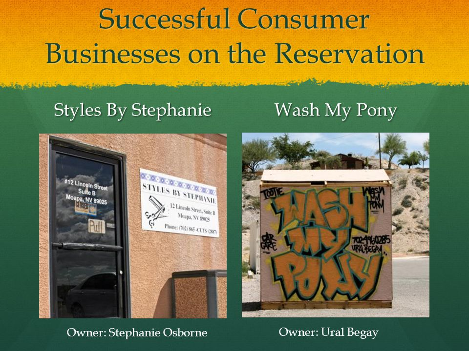 Successful Consumer Businesses on the Reservation Styles By Stephanie Wash My Pony Owner: Stephanie Osborne Owner: Ural Begay