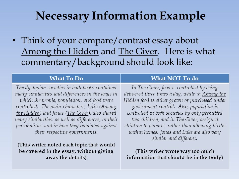Necessary Information Example Think of your compare/contrast essay about Among the Hidden and The Giver.