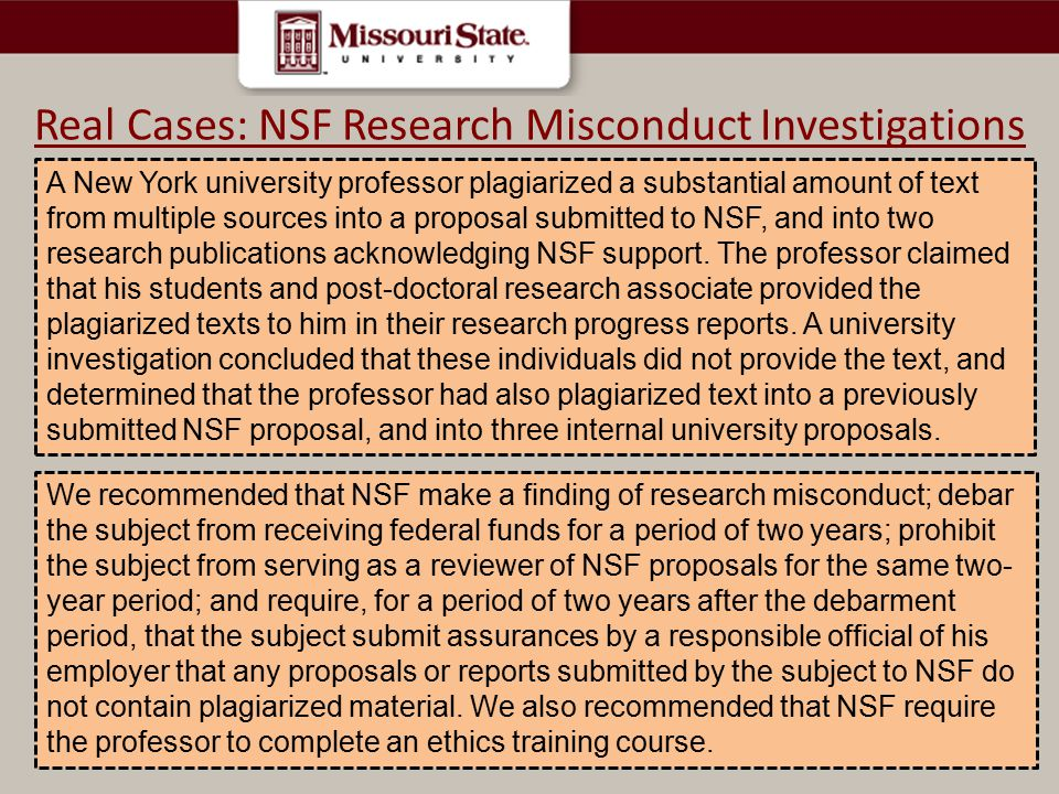 A New York university professor plagiarized a substantial amount of text from multiple sources into a proposal submitted to NSF, and into two research publications acknowledging NSF support.