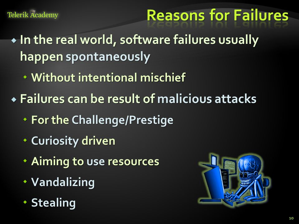  In the real world, software failures usually happen spontaneously  Without intentional mischief  Failures can be result of malicious attacks  For
