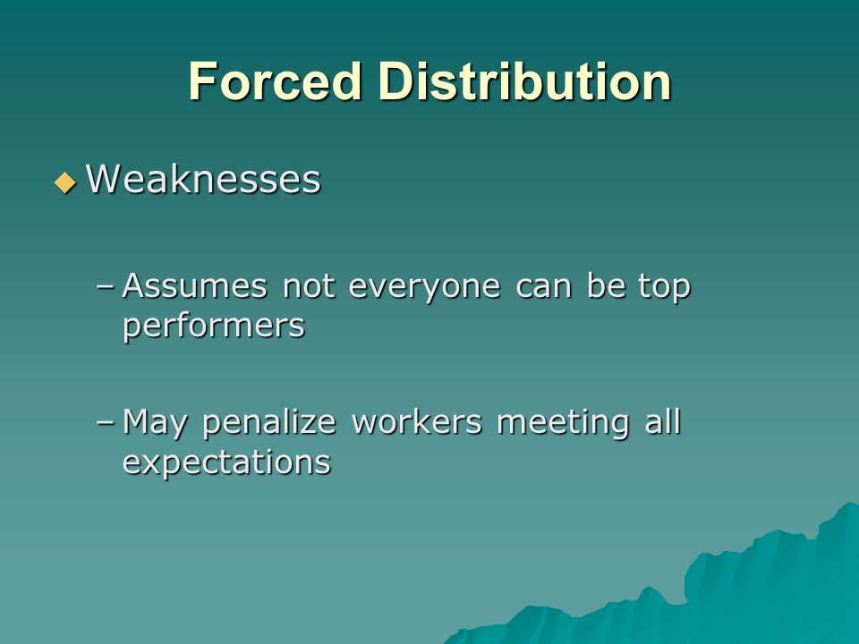 Forced Distribution  Weaknesses –Assumes not everyone can be top performers –May penalize workers meeting all expectations