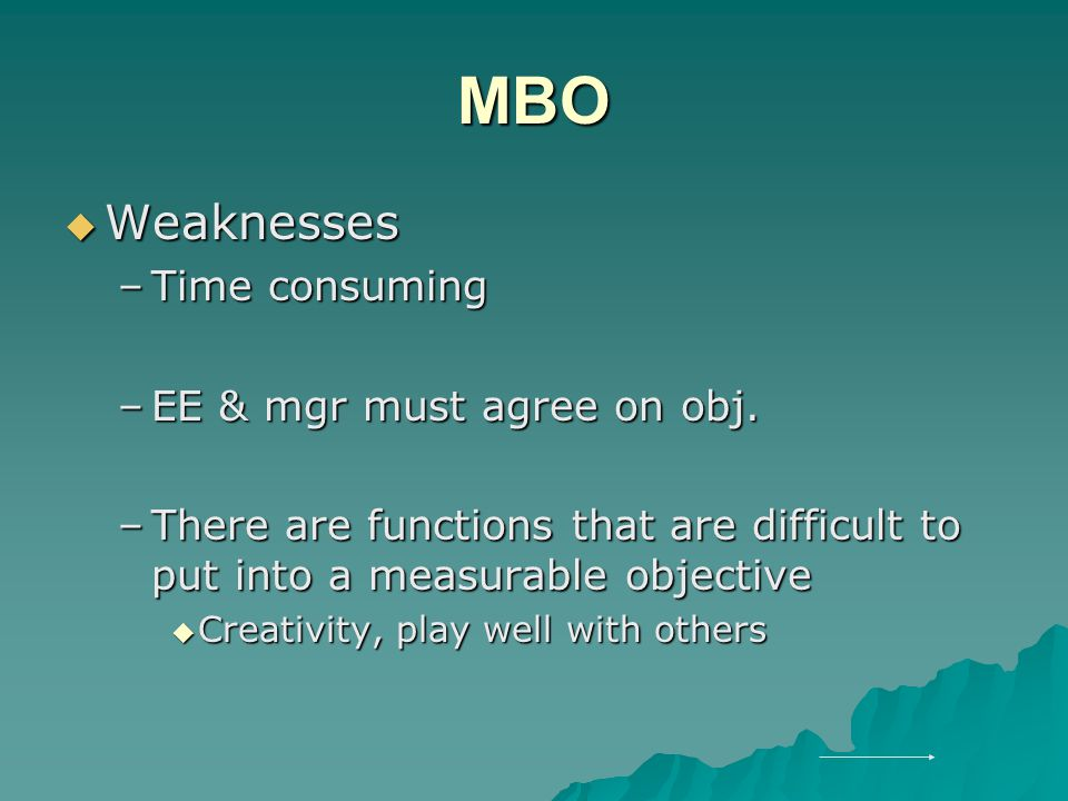 MBO  Weaknesses –Time consuming –EE & mgr must agree on obj.