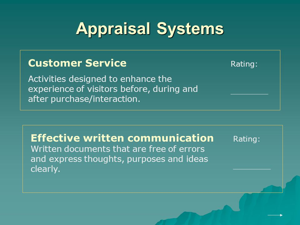 Appraisal Systems Customer Service Activities designed to enhance the experience of visitors before, during and after purchase/interaction.