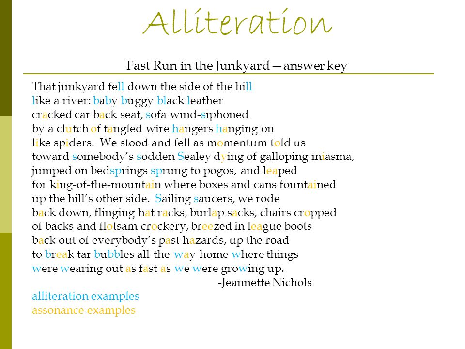 Poems #1-4 Your 4 poems need to use alliteration & must be 8-10 lines List poems Poem #1 topic: Things that go away and come back again Make a list of Things that go away and come back again Select a few items from this list and write a poem about these items that go away and come back again. (This is due at the end of the class.) Poem #2-#4 topic ideas: Choose from the following topics for each poem, or create topics yourself and follow the instructions as listed in #1.