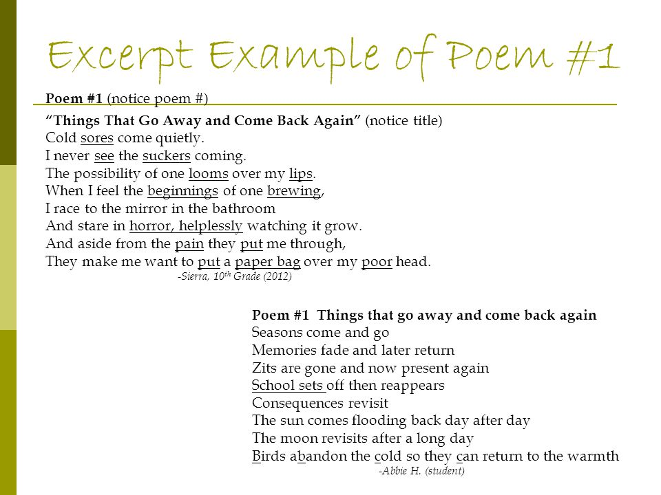 Poem examples #2-#4 Poem #2 Things I Do While Trying to Fall Asleep Drink warm cocoa.