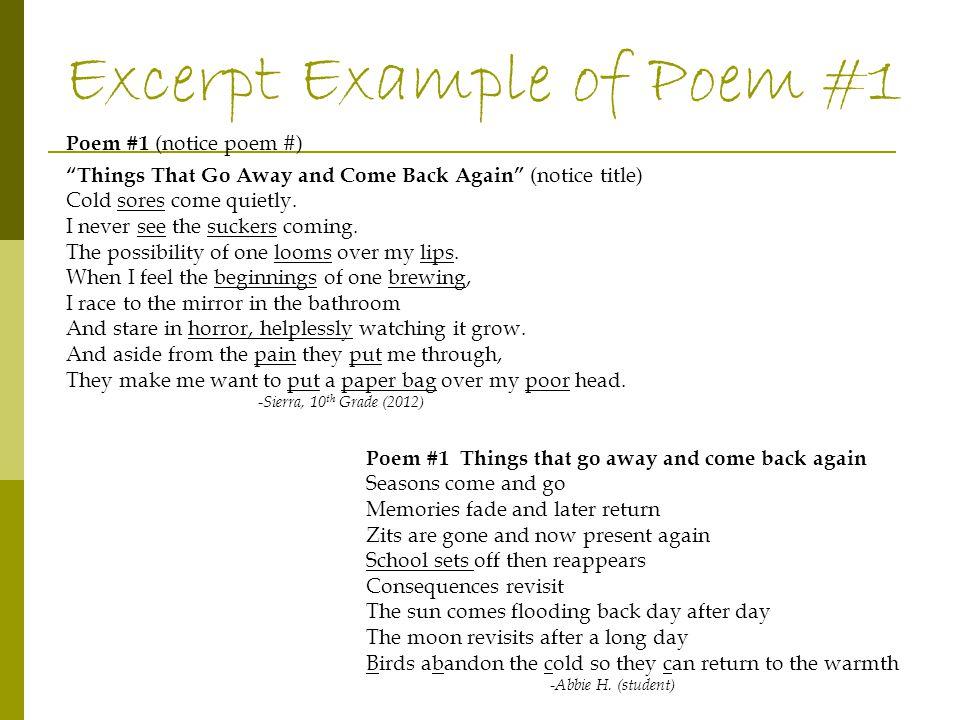 Poem #13 Where I am From Poem Poems #14 & 15 Imagist Poem Poem #13 Where I am From (has repetition in poem) Use the poem packet as a guide.