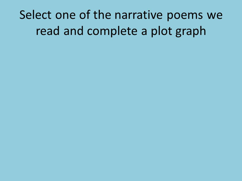 Select one of the narrative poems we read and complete a plot graph
