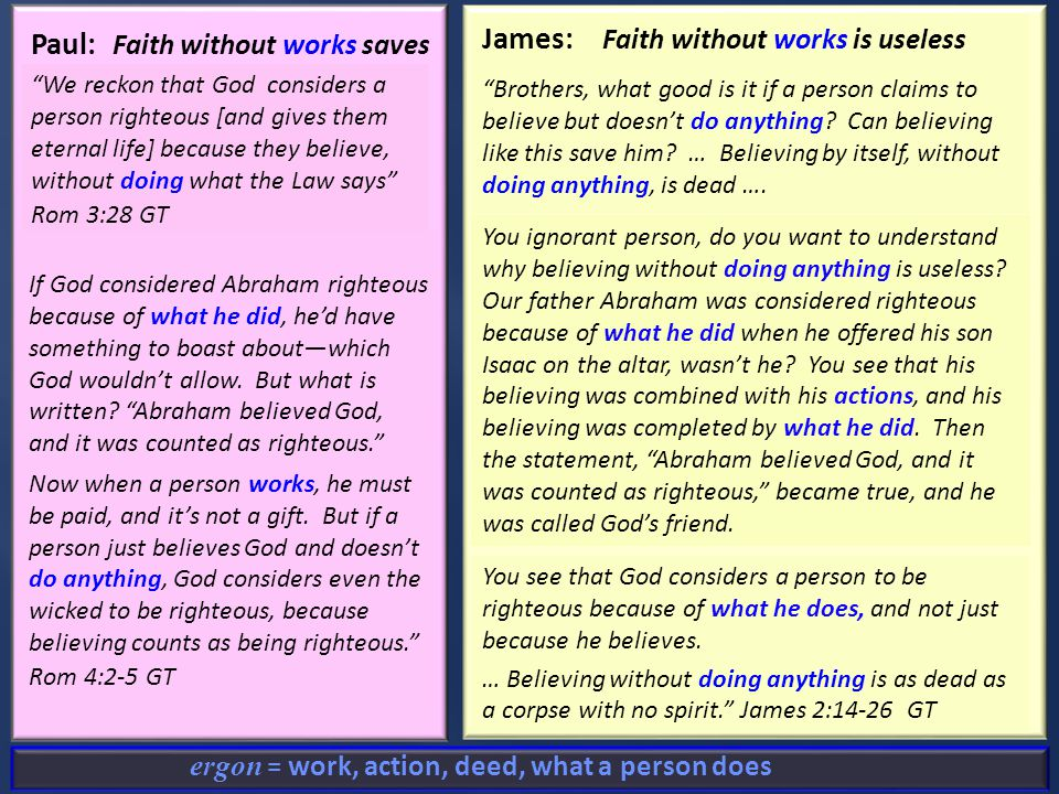 James: Faith without works is useless What good is it, my brothers, if a man claims to have faith but has no works.