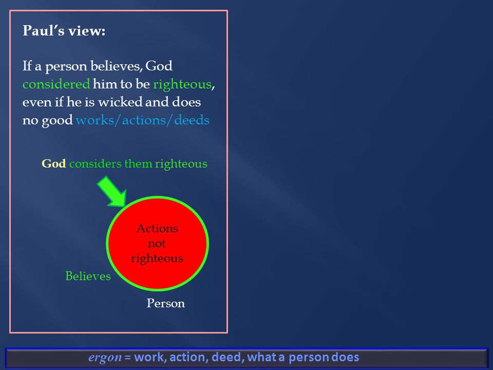 ergon = work, action, deed, what a person does Actions not righteous God considers them righteous Person Believes Paul's view: If a person believes, God considered him to be righteous, even if he is wicked and does no good works/actions/deeds