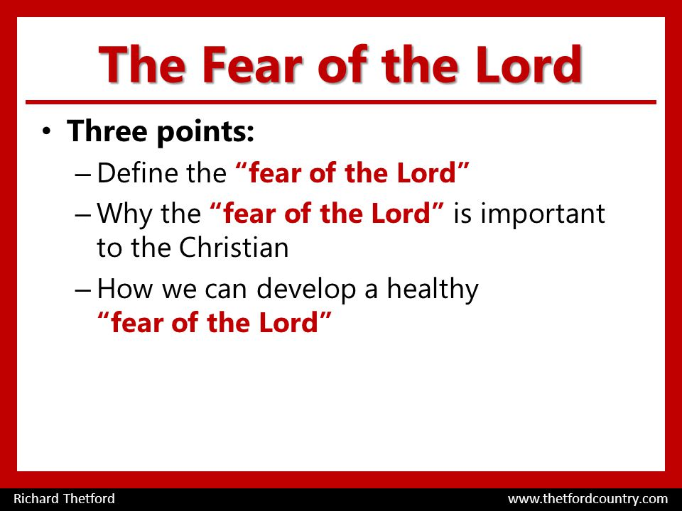 The Fear of the Lord Three points: – Define the fear of the Lord – Why the fear of the Lord is important to the Christian – How we can develop a healthy fear of the Lord Richard Thetford www.thetfordcountry.com