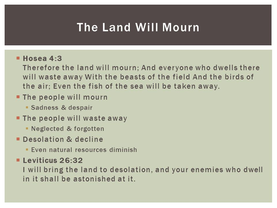  Hosea 4:3 Therefore the land will mourn; And everyone who dwells there will waste away With the beasts of the field And the birds of the air; Even the fish of the sea will be taken away.