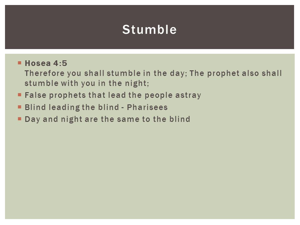  Hosea 4:5 Therefore you shall stumble in the day; The prophet also shall stumble with you in the night;  False prophets that lead the people astray  Blind leading the blind - Pharisees  Day and night are the same to the blind Stumble