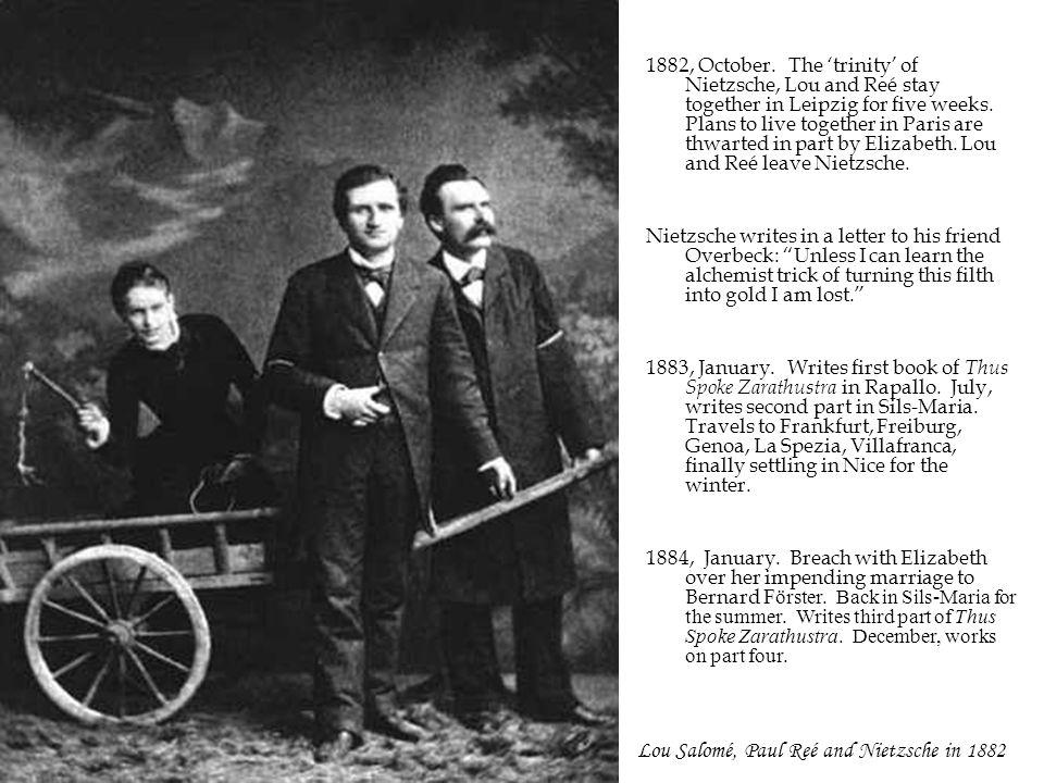 Lou Salomé, Paul Reé and Nietzsche in 1882 1882, October.