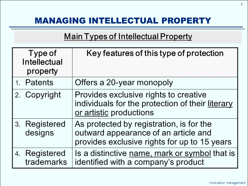 17 Innovation management MANAGING INTELLECTUAL PROPERTY On 27 November 1997, after a big debate, the EU permitted the granting of patents on certain life forms something that had a significant impact in the area of gene technology WHY THERE WAS A BIG DEBATE .