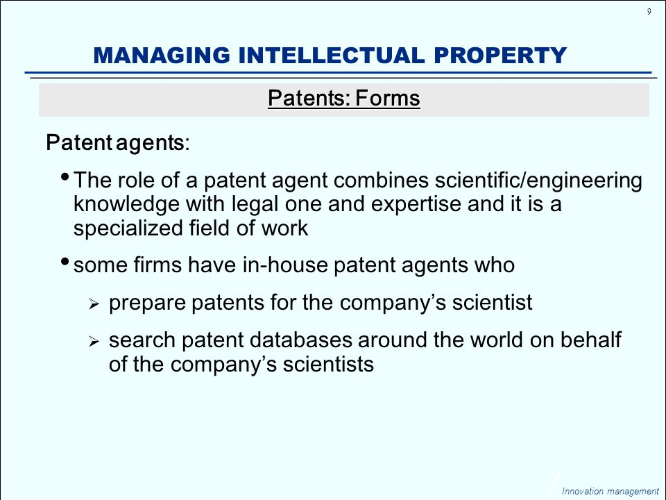 20 Innovation management MANAGING INTELLECTUAL PROPERTY ANSWER The key question is, will this property then be made widely available to help the hungry, the sick, and the desperate.